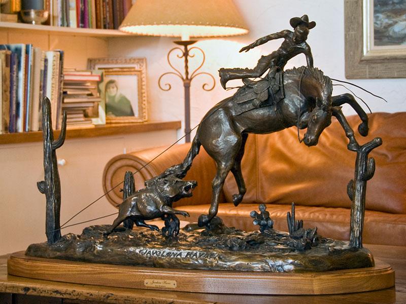 Javelena Havoc - bronze horse sculpture by Pat Roberts