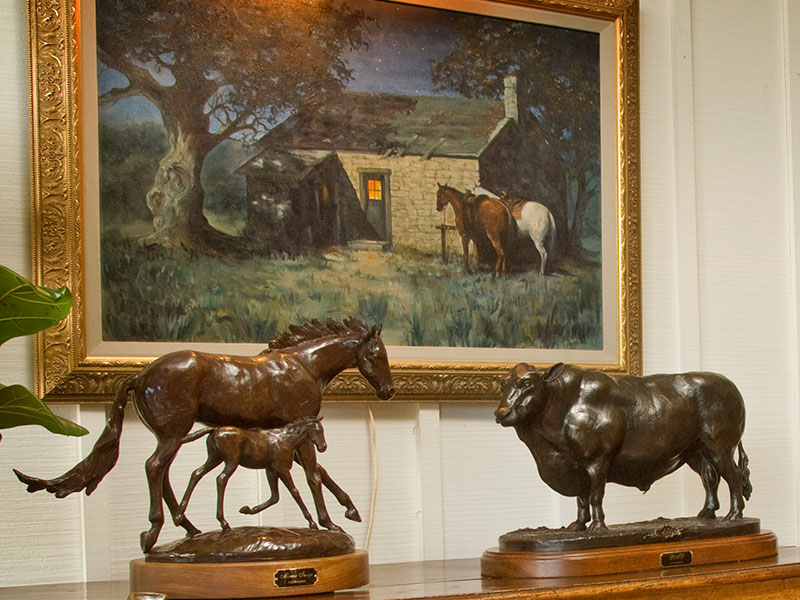 Mirror Image and Lad - bronze horse sculptures by Pat Roberts